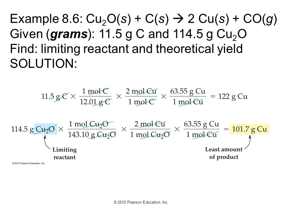 Example 8. 6: Cu2O(s) + C(s)  2 Cu(s) + CO(g) Given (grams): 11