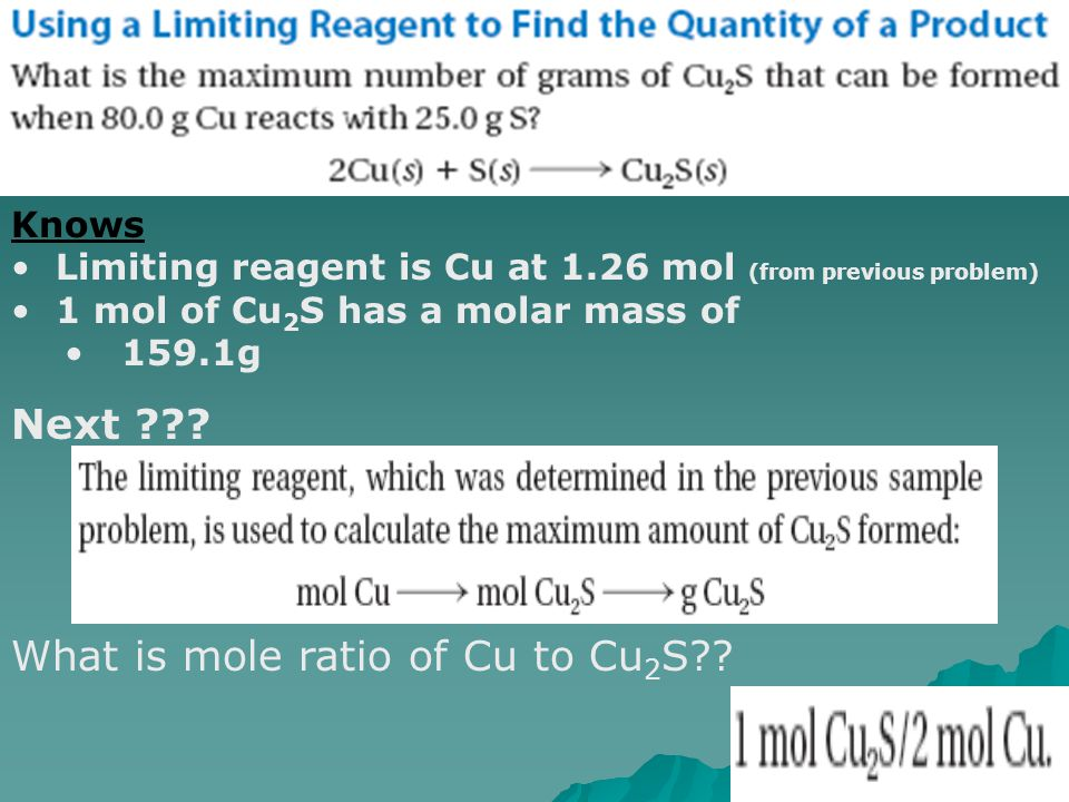 What is mole ratio of Cu to Cu2S