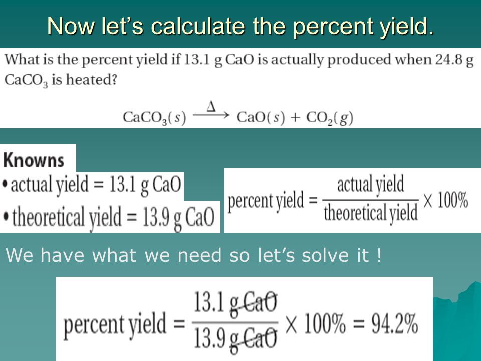 Now let's calculate the percent yield.