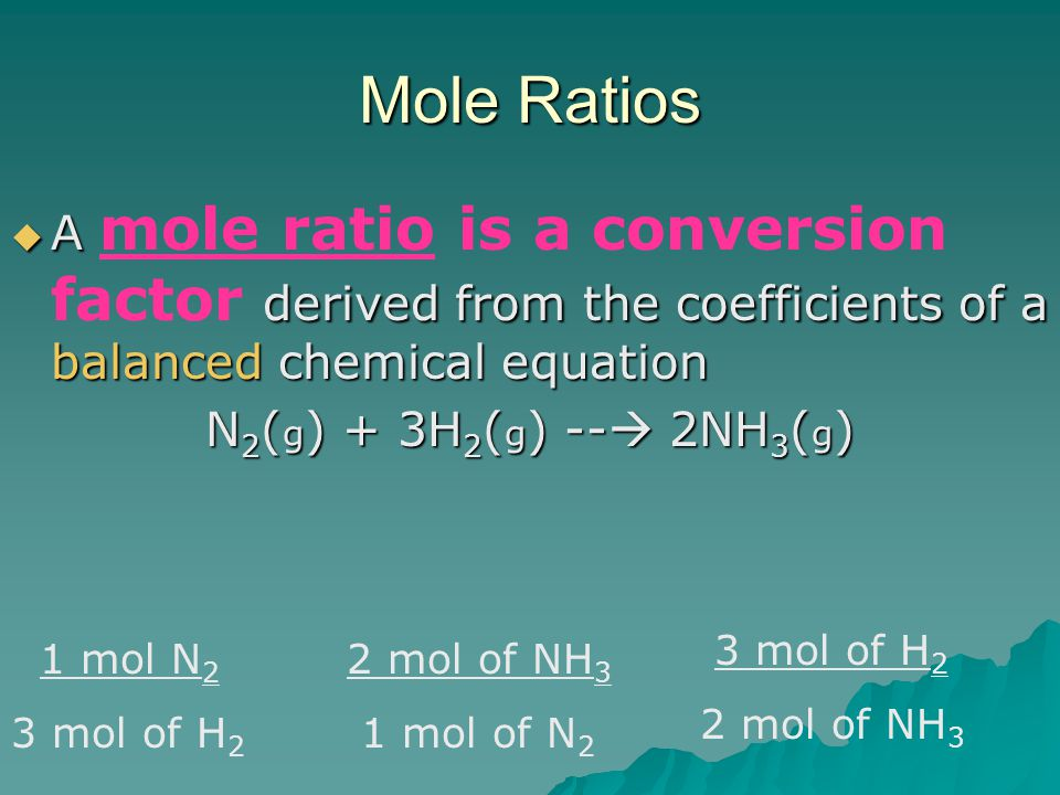 Mole Ratios A mole ratio is a conversion factor derived from the coefficients of a balanced chemical equation.