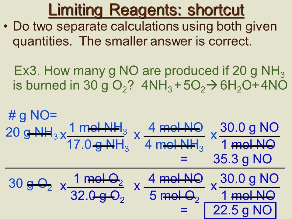 Limiting Reagents: shortcut
