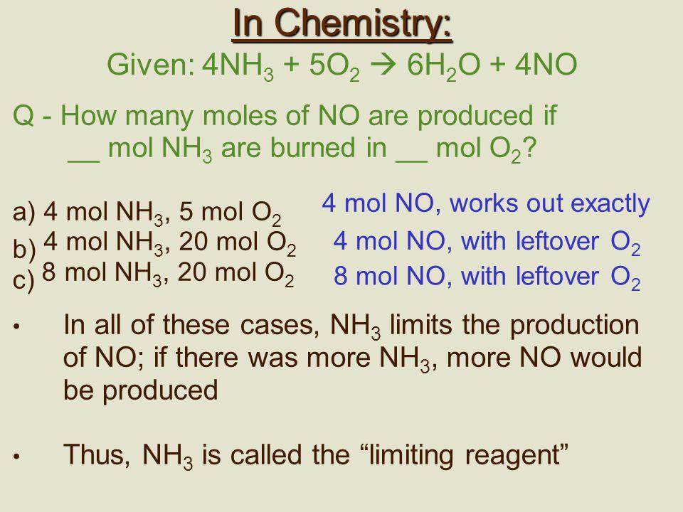 b) 4 mol NH3, 20 mol O2 c) 8 mol NH3, 20 mol O2 In Chemistry: