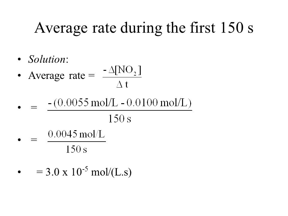 Average rate during the first 150 s