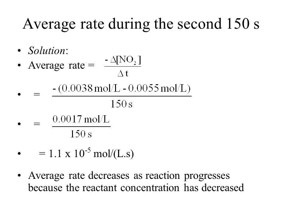 Average rate during the second 150 s