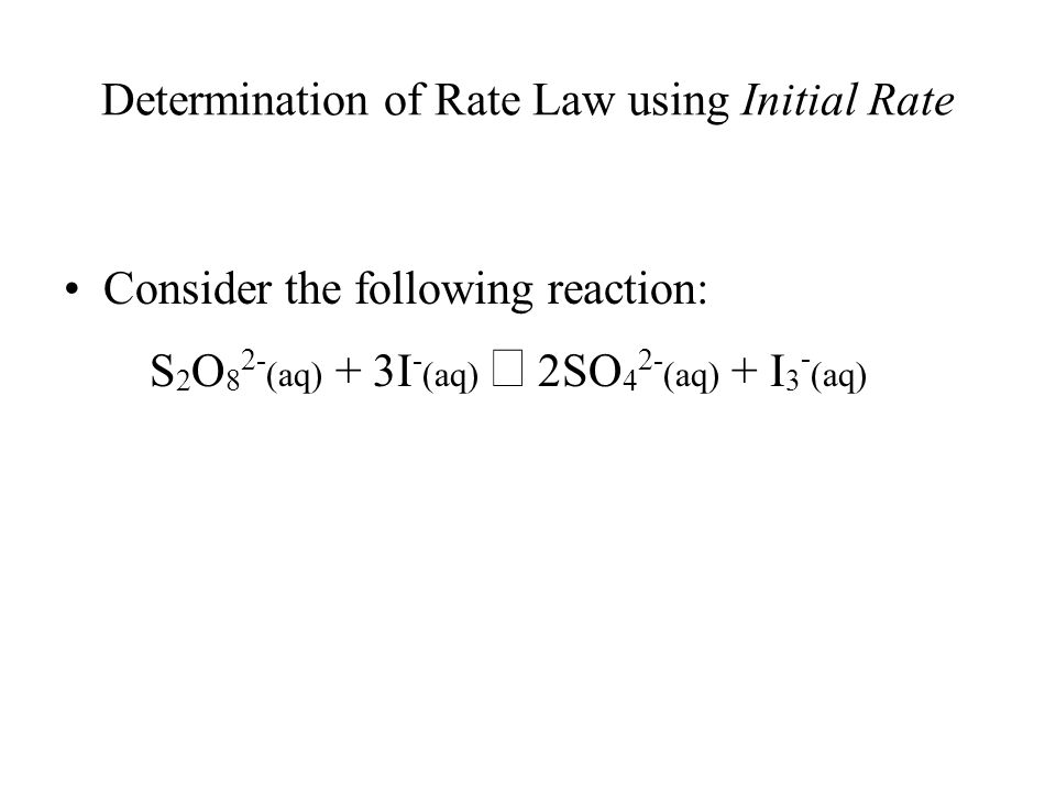 Determination of Rate Law using Initial Rate