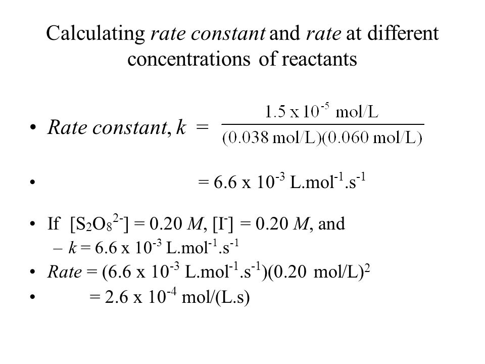 Calculating rate constant and rate at different concentrations of reactants