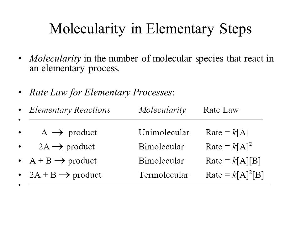 Molecularity in Elementary Steps