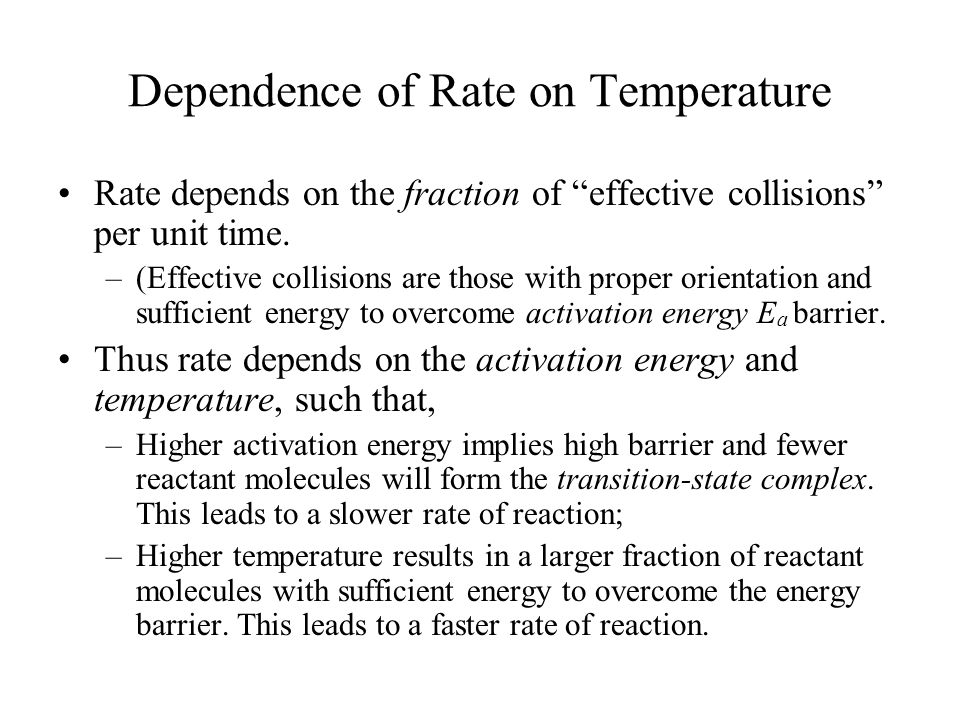 Dependence of Rate on Temperature