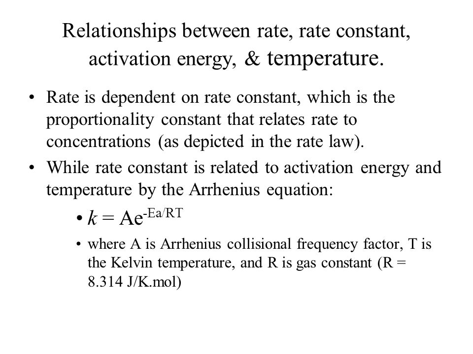 Relationships between rate, rate constant, activation energy, & temperature.