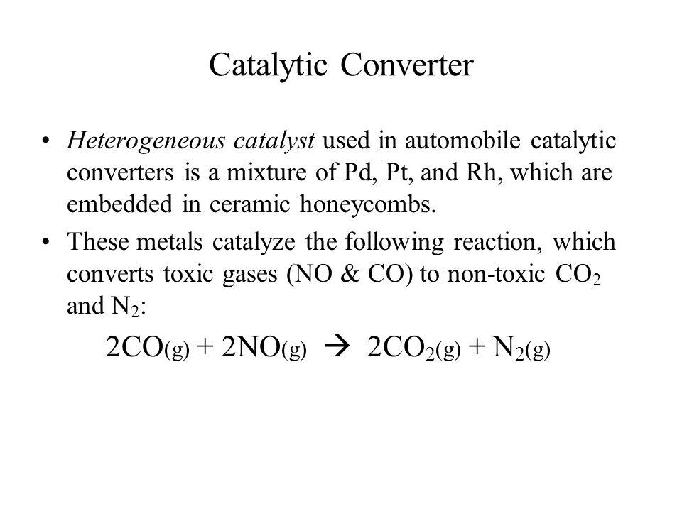 Catalytic Converter 2CO(g) + 2NO(g)  2CO2(g) + N2(g)