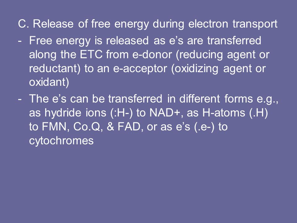 C. Release of free energy during electron transport