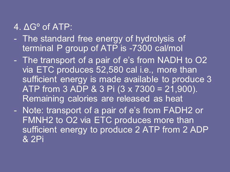 4. ΔGº of ATP: The standard free energy of hydrolysis of terminal P group of ATP is -7300 cal/mol.