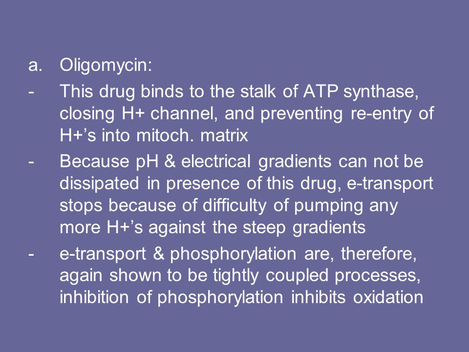 Oligomycin: This drug binds to the stalk of ATP synthase, closing H+ channel, and preventing re-entry of H+'s into mitoch. matrix.