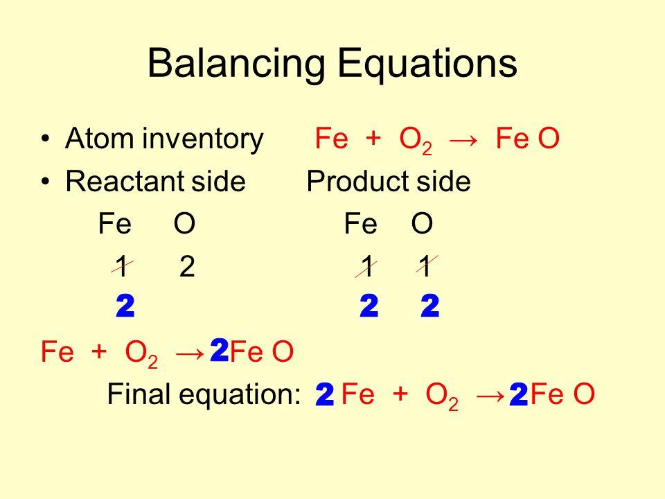 Balancing Equations Atom inventory Fe + O2 → Fe O