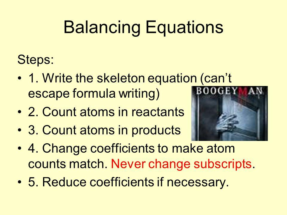 Balancing Equations Steps: