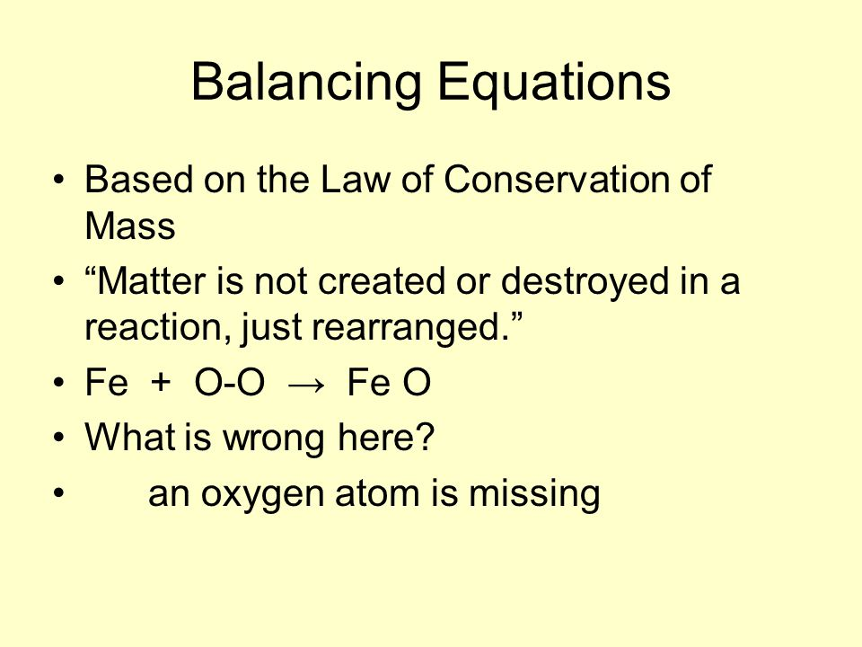 Balancing Equations Based on the Law of Conservation of Mass