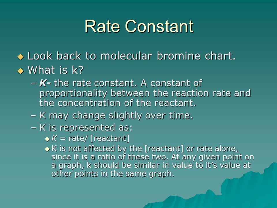 Rate Constant Look back to molecular bromine chart. What is k