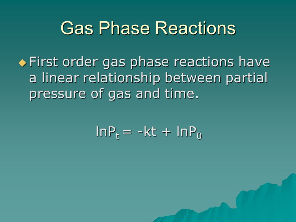 Gas Phase Reactions First order gas phase reactions have a linear relationship between partial pressure of gas and time.