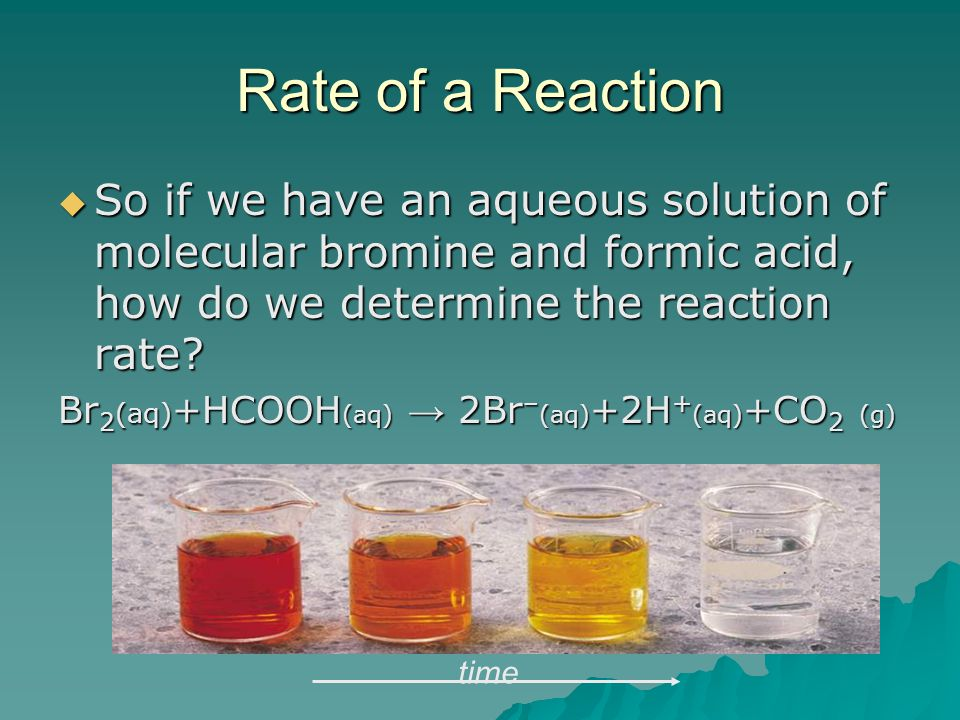 Rate of a Reaction So if we have an aqueous solution of molecular bromine and formic acid, how do we determine the reaction rate