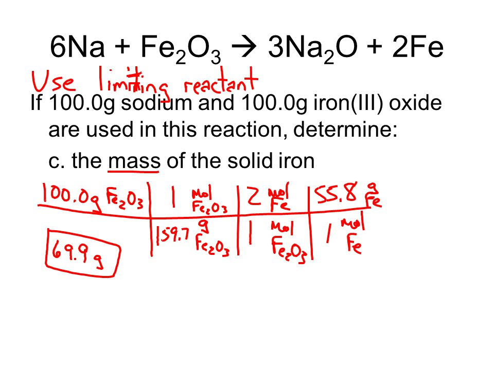6Na + Fe2O3  3Na2O + 2Fe If 100.0g sodium and 100.0g iron(III) oxide are used in this reaction, determine: