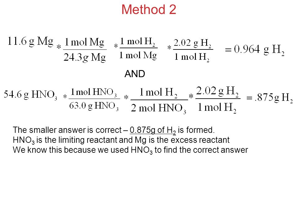 Method 2 AND The smaller answer is correct – 0.875g of H2 is formed.