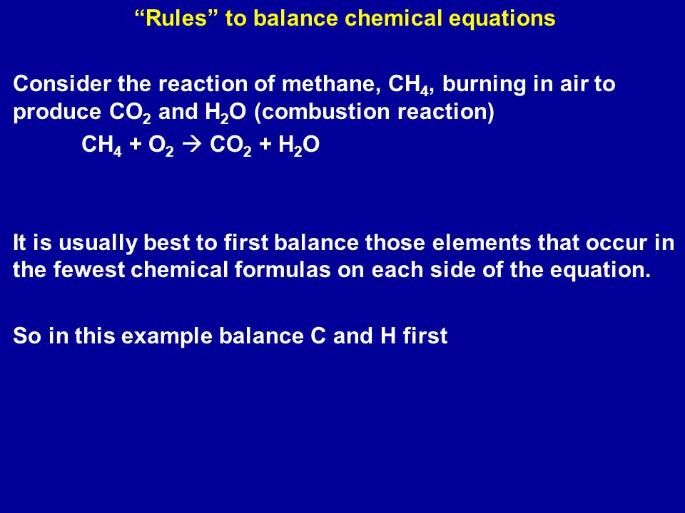 Rules to balance chemical equations