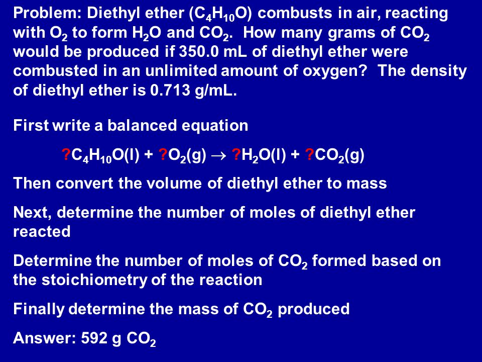 Problem: Diethyl ether (C4H10O) combusts in air, reacting with O2 to form H2O and CO2. How many grams of CO2 would be produced if 350.0 mL of diethyl ether were combusted in an unlimited amount of oxygen The density of diethyl ether is 0.713 g/mL.