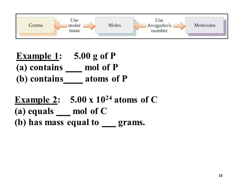 Example 1: 5.00 g of P (a) contains mol of P. (b) contains atoms of P. Example 2: 5.00 x 1024 atoms of C.