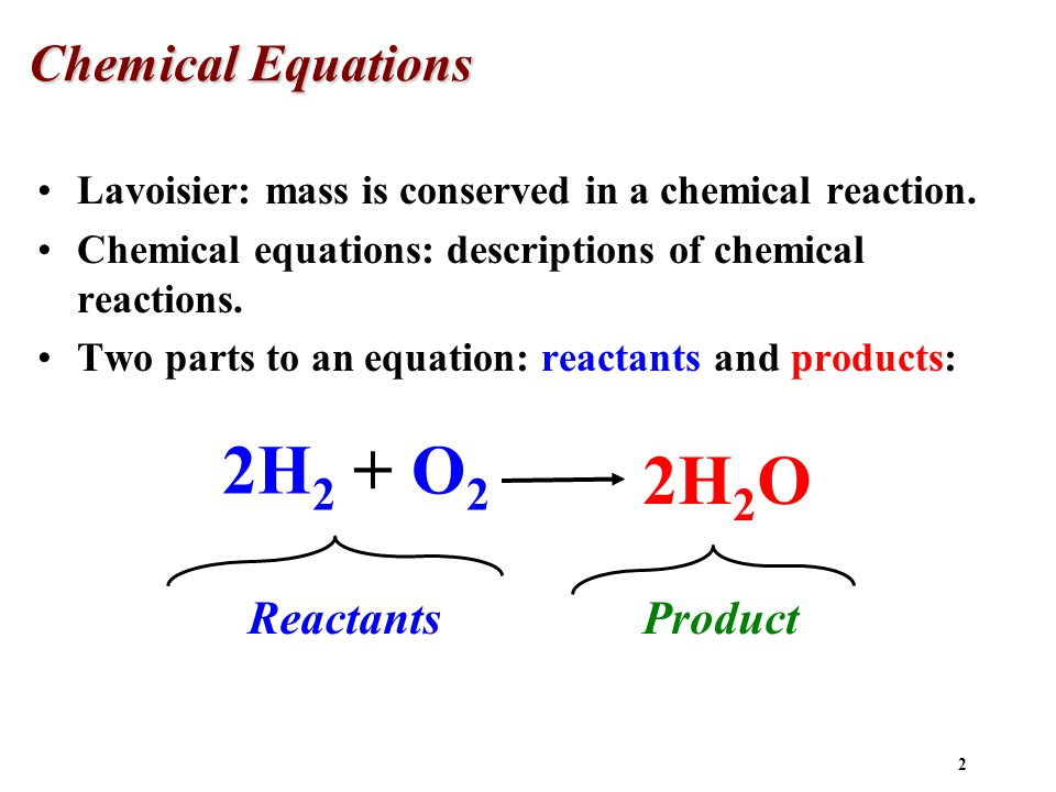 chemical equation and reaction In a chemical equation, the law of conservation of matter must be met this means that whatever amount of reactants you started with, this is the amount of product you end up with an example of a.