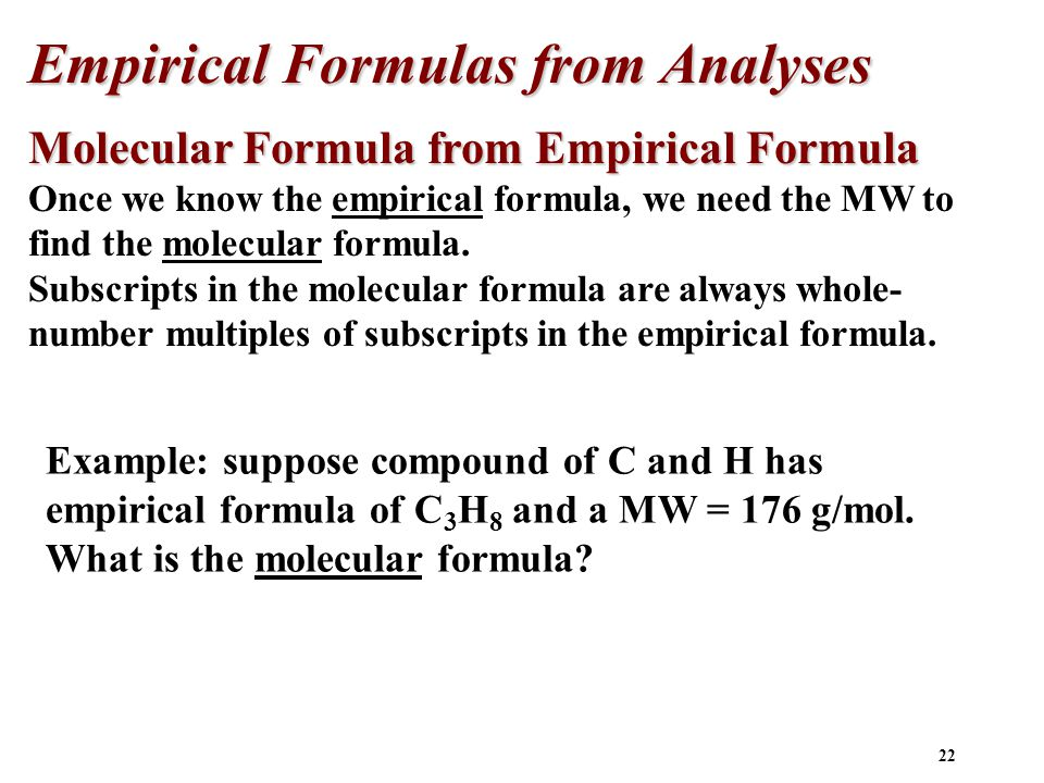 Empirical Formulas from Analyses