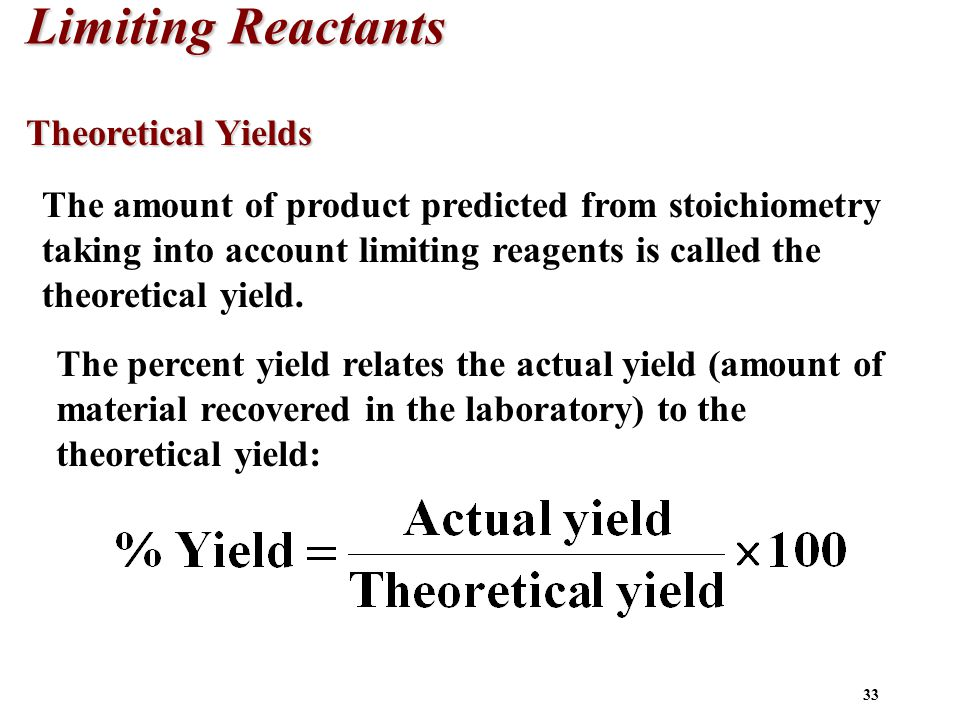 Limiting Reactants Theoretical Yields
