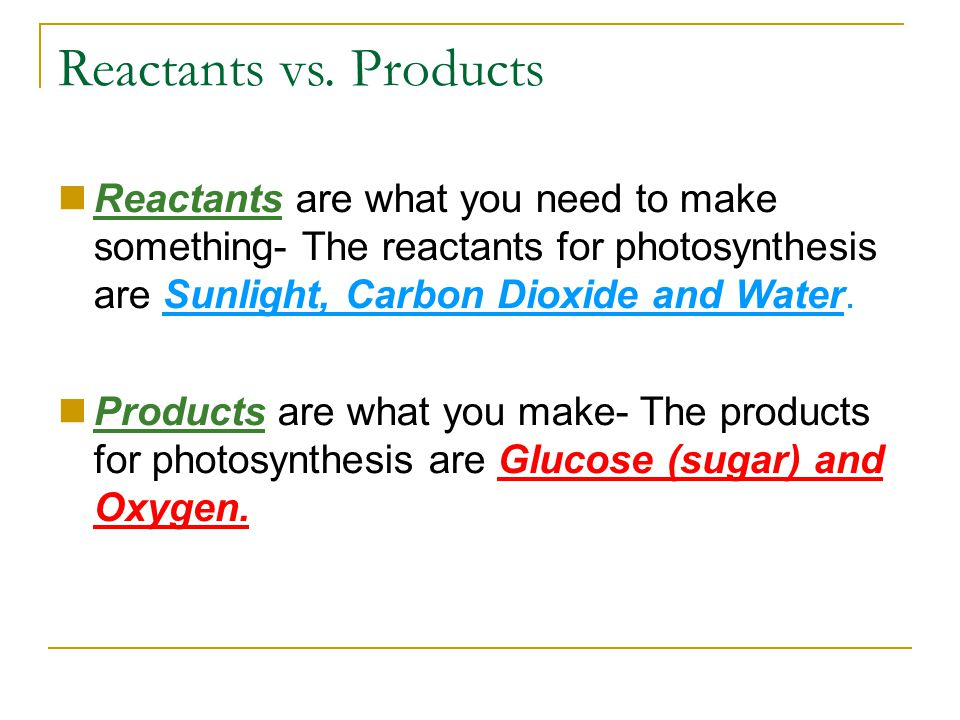 Reactants vs. Products Reactants are what you need to make something- The reactants for photosynthesis are Sunlight, Carbon Dioxide and Water.