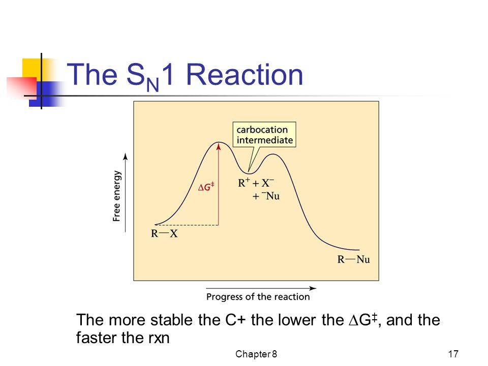 The SN1 Reaction The more stable the C+ the lower the DG‡, and the faster the rxn Chapter 8