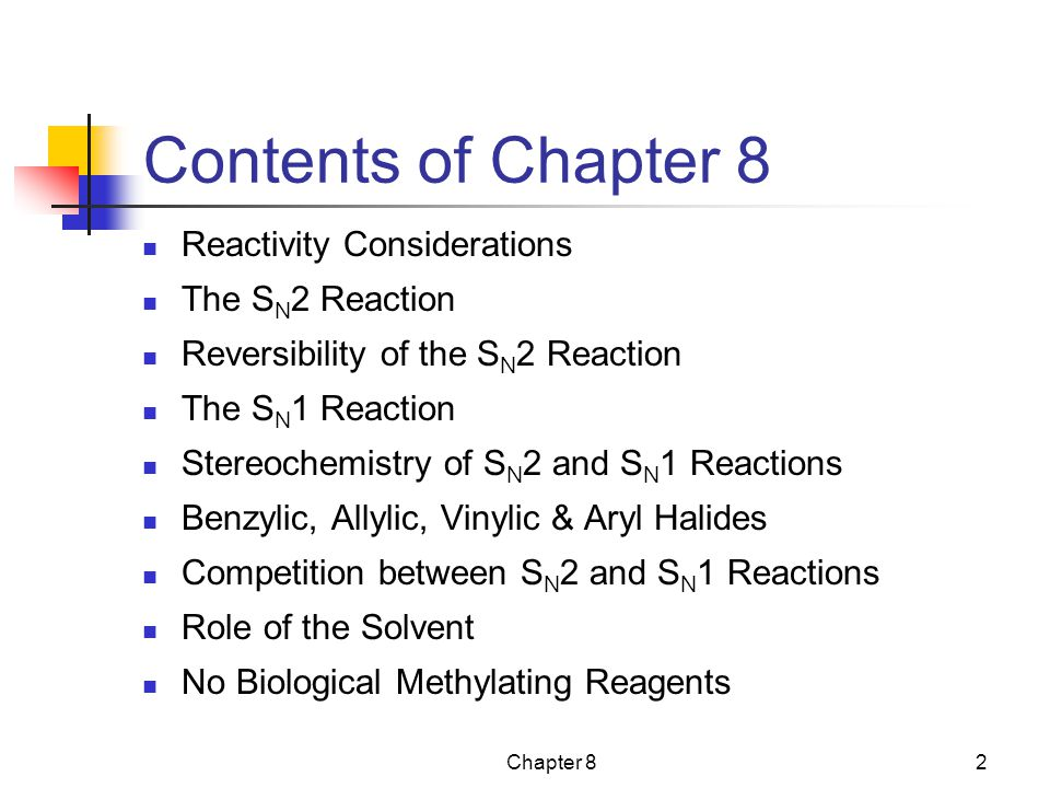 Contents of Chapter 8 Reactivity Considerations The SN2 Reaction