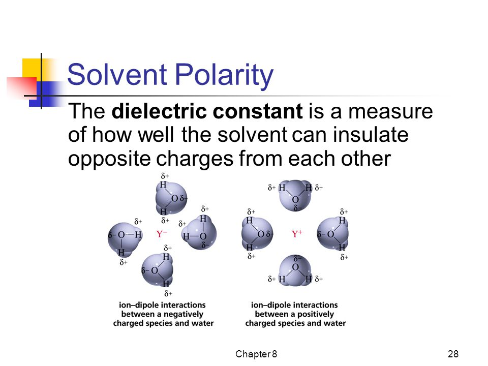 Solvent Polarity The dielectric constant is a measure of how well the solvent can insulate opposite charges from each other.