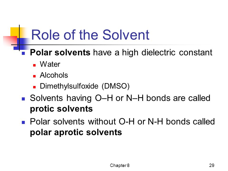 Role of the Solvent Polar solvents have a high dielectric constant