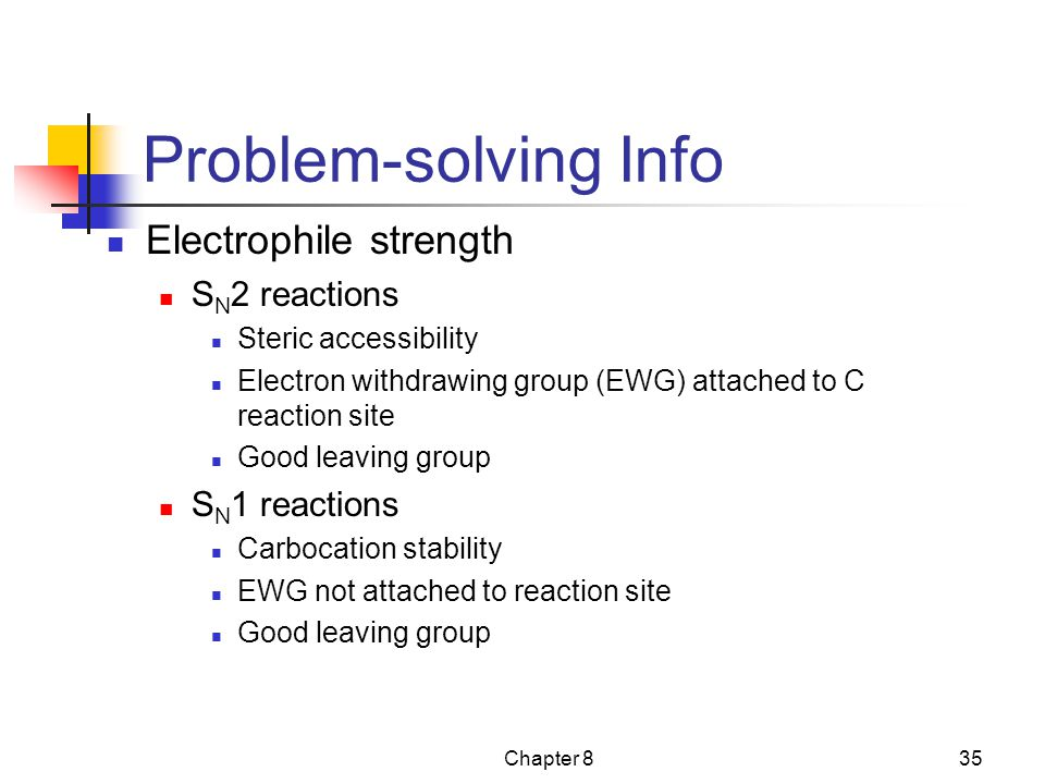 Problem-solving Info Electrophile strength SN2 reactions SN1 reactions