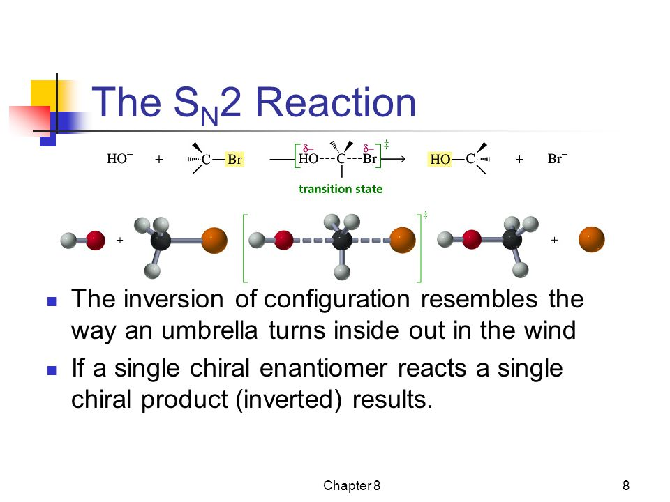 The SN2 Reaction The inversion of configuration resembles the way an umbrella turns inside out in the wind.