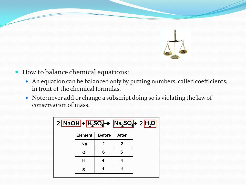 How to balance chemical equations: