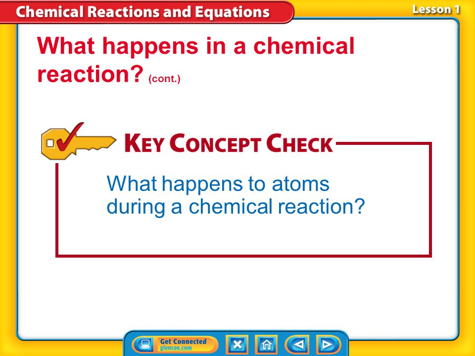 What happens in a chemical reaction (cont.)