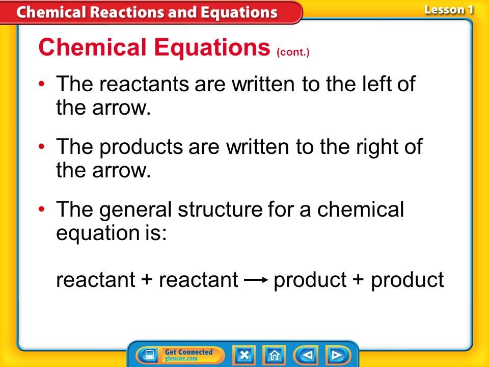 Chemical Equations (cont.)