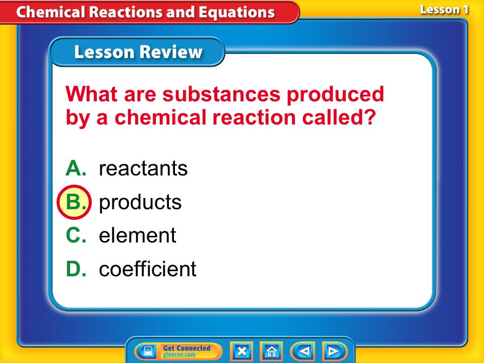 What are substances produced by a chemical reaction called