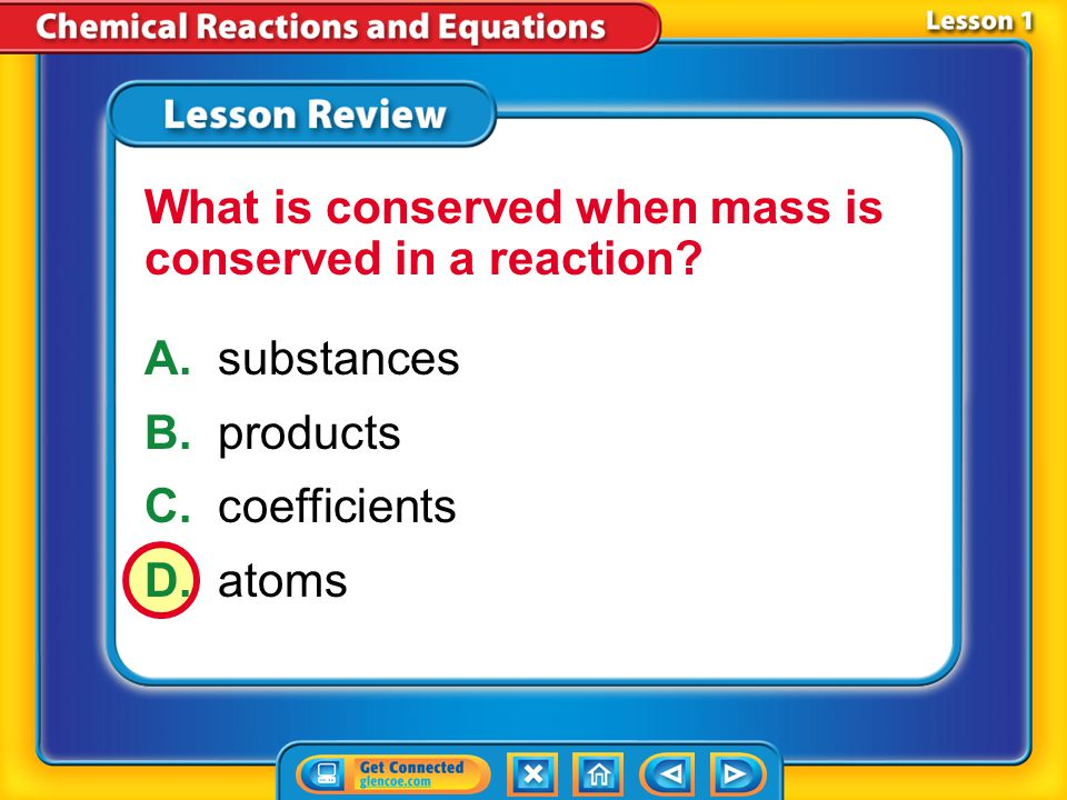 What is conserved when mass is conserved in a reaction