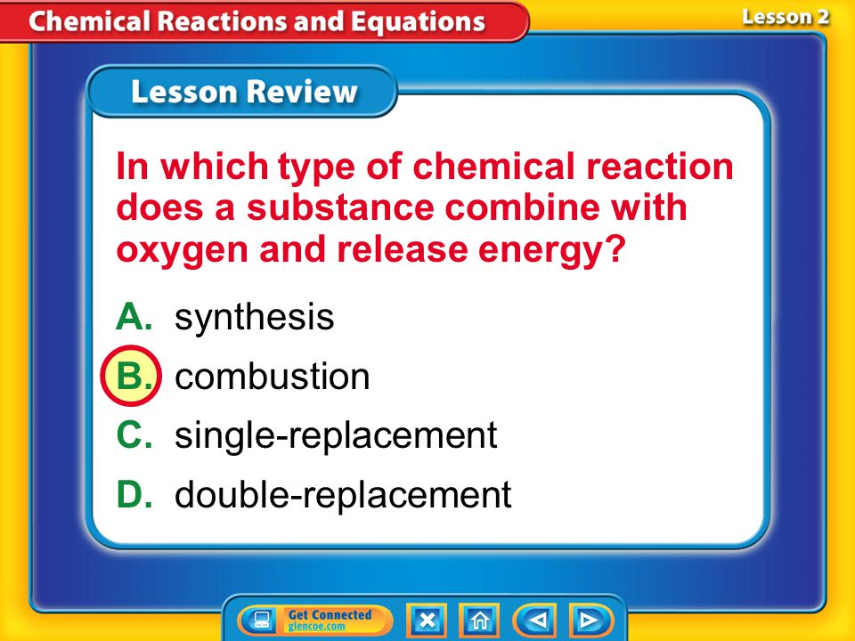 In which type of chemical reaction does a substance combine with oxygen and release energy