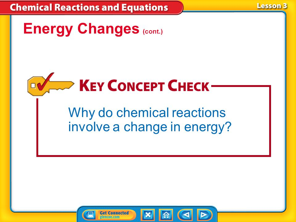Energy Changes (cont.) Why do chemical reactions involve a change in energy Lesson 3-1