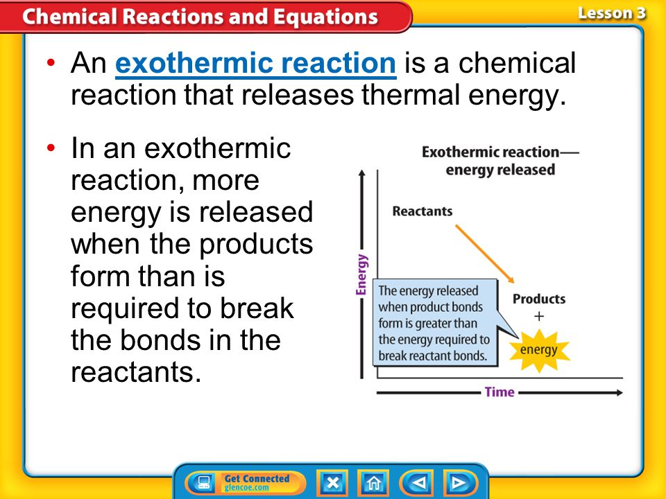 An exothermic reaction is a chemical reaction that releases thermal energy.