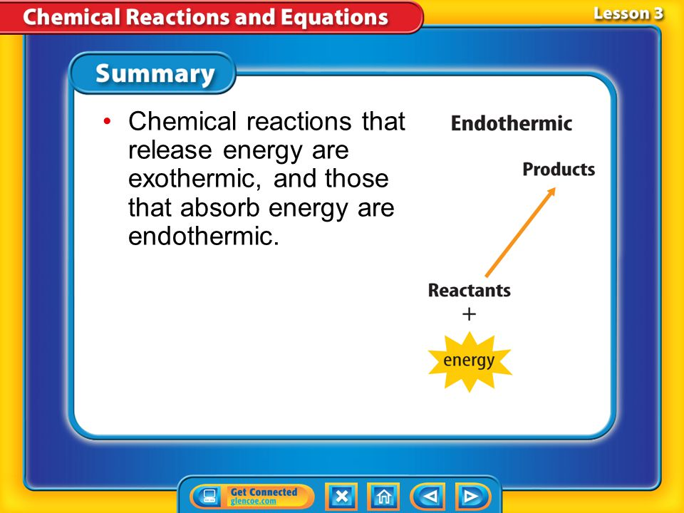 Chemical reactions that release energy are exothermic, and those that absorb energy are endothermic.