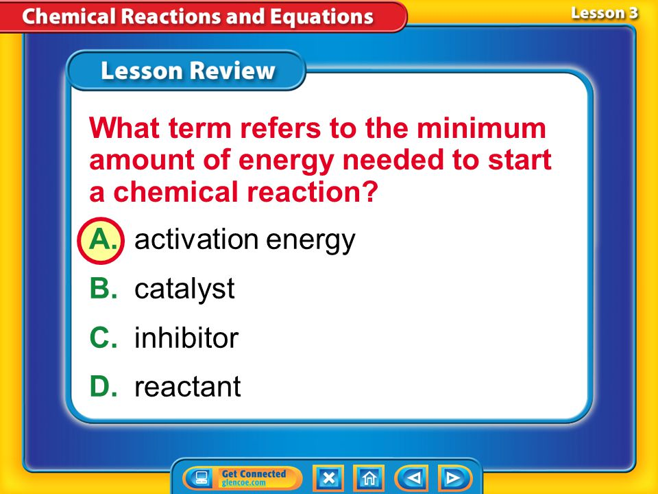 What term refers to the minimum amount of energy needed to start a chemical reaction