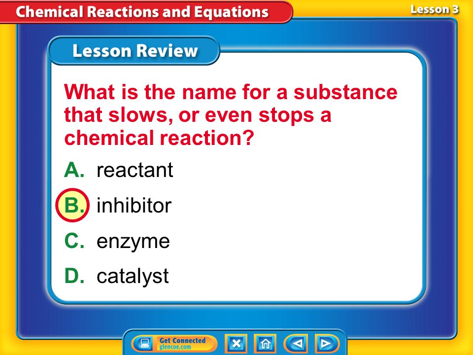 What is the name for a substance that slows, or even stops a chemical reaction