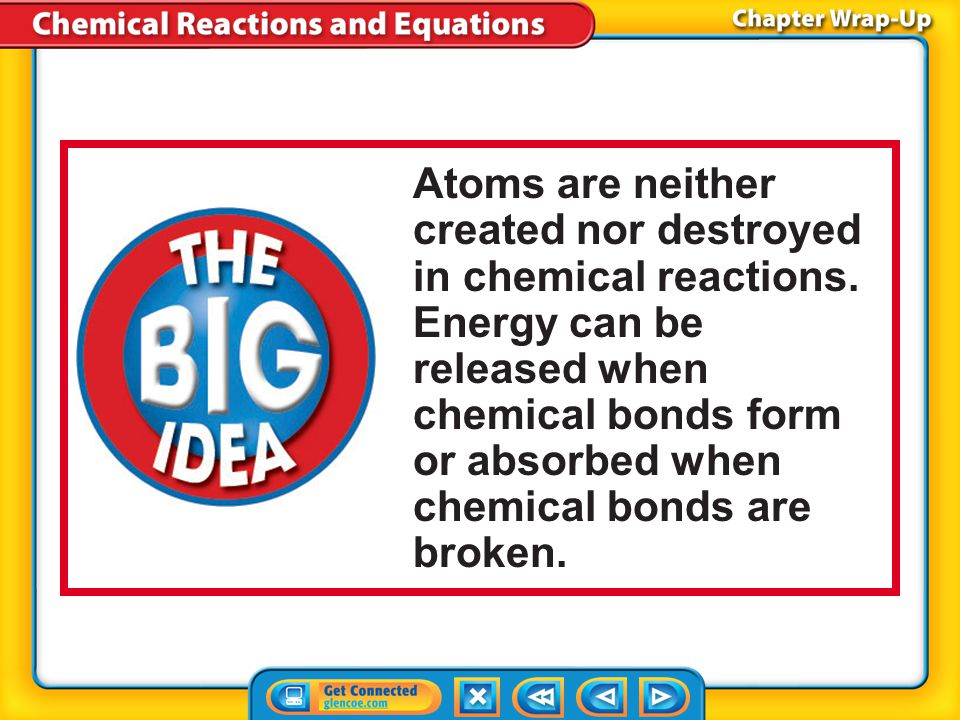Atoms are neither created nor destroyed in chemical reactions